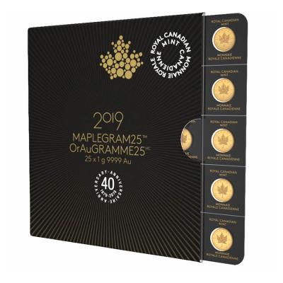 Zlatá mince Maple Leafs Maplegram25 (25 x 1 g) - 2019