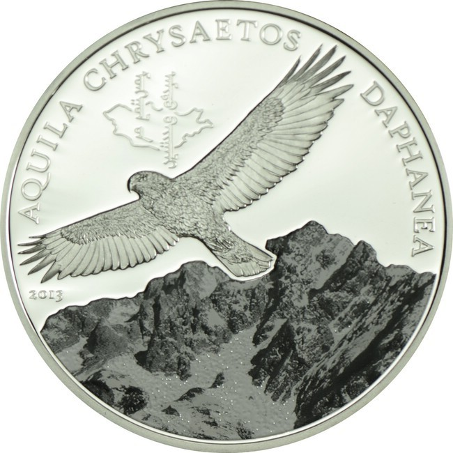 500 Mongolský Tugrik Silver Wildlife - Golden Eagle Proof